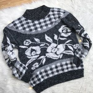 Vintage Gray Graphic Hipster Rose Floral Sweater